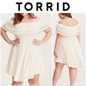 TORRID LACE TRIM OFF SHOULDER V-HEM DRESS NWOT